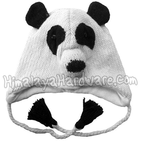 Sombrero tejido en lana oso Panda: animal invierno oído aleta | Etsy