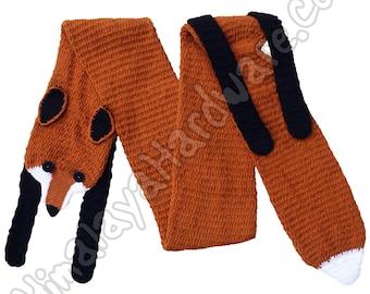 Knit Faux Fox Scarf: wrap stole fake fur brown geek red animal shawl neck print