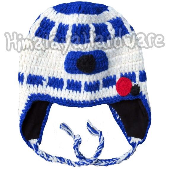 Mütze R2 D2 Roboter Geek Weiß Star Wars Häkeln Stricken Mütze Etsy