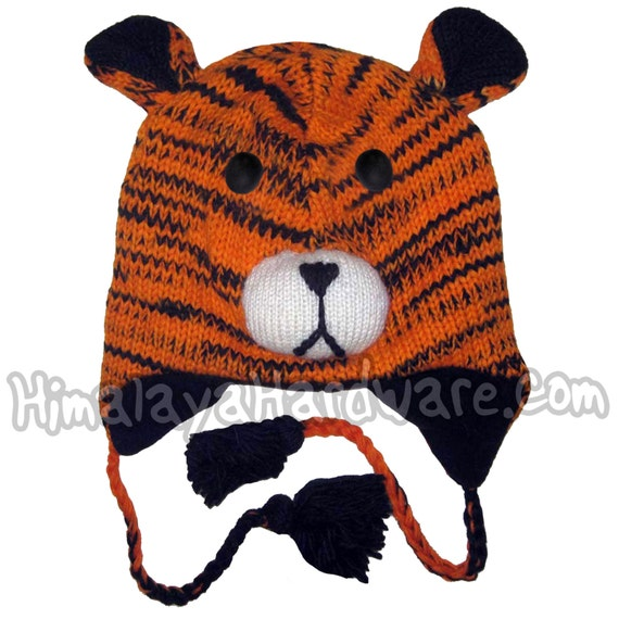 768504b21b1acb Knit Wool Tiger Hat: orange animal winter ear beanie black | Etsy