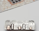 Whimsical row of shops, sterling silver, copper, textured, shopping, quirky, pendant, unique, quaint, handmade, engraved, gift, necklace