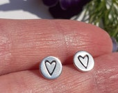 Heart, love, romance, stud earrings, cute, feminine, bold, beautiful, simple, silver sterling dainty, small, cute gift, gift for her, him