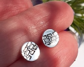 Bricky, bricks, bricklaying, silver stud earrings, cute, engineering, builder, mortar, house, new home, handmade, unique design, home, house