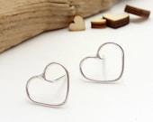 Hearts, outline studs, pretty gift,  sterling silver earrings, romantic, delicate, dainty, love, handmade jewellery, romance, simple studs