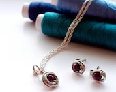 """Aubergine, sterling silver, jewellery set, wire wrapped, pretty, dainty, gift for her, 18"""", purple, Swarovski crystal pear, necklace, studs."""