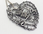 Dark romantic, wire heart recycled, pendant necklace, sterling silver, steam punk, reloved, unique, rustic patina, gothic, saved, repurposed