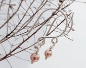 Simple short drop earrings, ear wires, rose gold coloured swarovski crystal pearl droplets, sterling silver wires,  classic, feminine, gift.