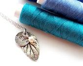 Sterling silver necklace, metal clay jewellery, leaf pendant, hope, swarovski crystal pearl, botanic floral style, gardeners gift, mint leaf