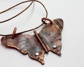 Rustic butterfly, moth, long adjustable pendant, copper, riveted, heat patina, freedom, free, beauty, boho, nature, flight, necklace, free