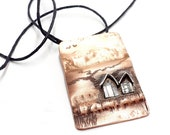 By the sea, beach huts, seaside, copper and silver scene, shoreline, atmospheric, patina, pendant, necklace, adjustable length, waters edge