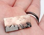 Beach hut scene, seashore,  copper and sterling silver, seaside theme, seaside scene,  seascape,  unique pendant necklace, gift.