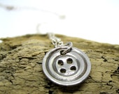 "Cute as a button...Silver clay  fine silver  handmade, button pendant, sewing, cute perfect for crafters, quirky  dainty 18"" chain"