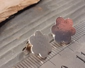 Sterling silver flower, distressed studs, earrings, silver studs, hammered look, floral design, comfortable jewellery, floral, botanic