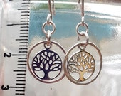 Tree of life, sterling silver, earrings, religion, Christian, symbolic, dangly, faith, nature, trees, knowledge, eden, feminine, botanical
