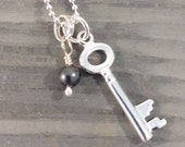 Sterling silver, key charm pendant and grey silver Swarovski crystal pearl dangle pendant, chain, gift, necklace, quirky quaint, miniature.