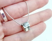 Tiny handmade sterling silver house pendant, miniature, unique, quirky, new home, travelling, off to university, fairy, dolls house pendant