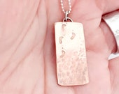 Footprints in the sand, inspiring necklace,  copper and silver pendant,handmade,tactile,shiny satin and hammered finish, Christian gift.