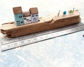 Miniature row of houses, wooden, cute handmade, on reclaimed, driftwood, shelf sitter, mantle piece, window ledge. Washing line