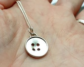 Sterling silver button,  4 holes, handmade, pendant, cute, sewing, crafts, sewer, gift for her, quirky, creative, silver, shiny, handmade