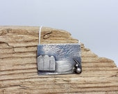 Beach huts on the shore at night,  sterling silver, scene pendant, sea, water, seashore art, wearable art, beach, waters edge, atmospheric.