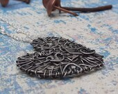 Dark romantic, wire heart recycled, pendant necklace, sterling silver, steampunk, reloved, unique, rustic, patina, gothic, saved, repurposed