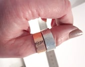 Aluminium or copper, chunky thumb ring, ring, hammered adjustable, unisex, one fit light, gift for man, everyday men, comfortable jewellery