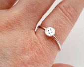 Button, size T uk.  sewing ring, jewellery, quirky, whimsical, dainty, cute, small,  sweet, craft lover, sterling silver handmade jewellery.