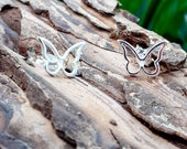Butterfly earrings, simple, sterling silver, pretty, dainty, feminine, sweet, stud, earrings, bold, symbolic, bo ho style, cute gift for her