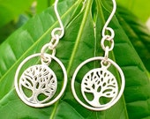 Tree of life, sterling silver, earrings, religion, Christian, symbolic, dangly, faith, nature, trees, knowledge, eden, feminine, botanical