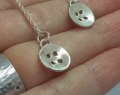 "Cute as a button, sterling silver, 4 hole, button pendant, shiny necklace, handmade, sewing, crafting, sterling silver 18"" chain"