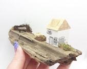 Miniature house scene, wooden, cute handmade, on reclaimed, driftwood, shelf sitter, mantle piece, window ledge. garden, seat, flowers, tree