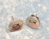 Sterling silver handmade studs, disc earrings, faith jewellery, Christian fish symbol, Christian gift, simple, light weight jewellery