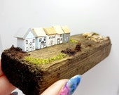 Miniature row of houses, wooden, cute handmade, on reclaimed, driftwood, pastels, shelf sitter, mantle piece, window ledge. Sea cottages.