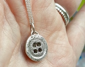 Button pendant necklace, 4 holes, cute, quirky, simple,pure silver, silver clay, one off, sewing, crafts,