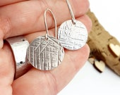 Super lightweight, aluminium earrings, sterling silver ear wires, textured circle drops, comfortable wires, very shiny, handmade, unique