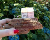 Miniature houses, wooden, cute handmade, on reclaimed driftwood, pastels, washing line. shelf sitter, mantle piece, window ledge, new home.