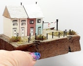 Miniature houses, wooden, cute handmade, on reclaimed,  driftwood, pastels, washing line. shelf sitter, mantle piece,new home, gardener gift