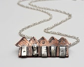 Copper and Sterling Silver beach huts in a row cute, quirky, whimsical, nautical, fun, unique, seashore, sand, sea, holidays, gift for her,