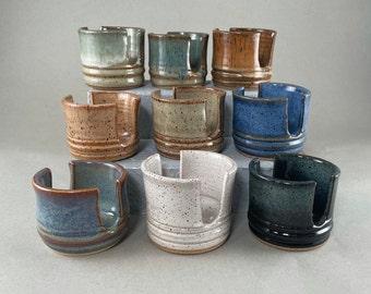 Pottery Sponge Holder, Handmade Ceramic Sponge Holder, Kitchen Sponge Keeper, Kitchen Accessory, Kitchen Sink Cylinder Shaped Sponge Keeper