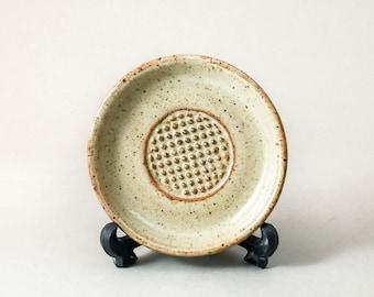 Pottery Garlic Rasp, Ceramic Garlic Grater, Pottery Garlic Grater Rasp and Dipping Oil Dish, Handcrafted Garlic Rasp