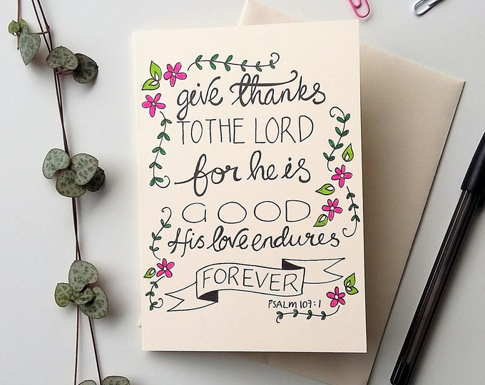 Featured listing image: Psalm 107:1 - Bible verse card - Give thanks to the Lord