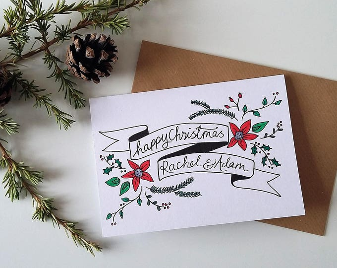 Featured listing image: 'Happy Christmas' Personalised Card