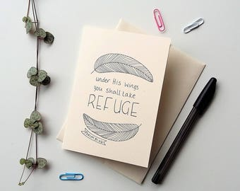 Psalm 91:4 - blank card, A6 religious card, Bible verse card, all occasions, take refuge Psalm verse, encouragement,  handdrawn typography