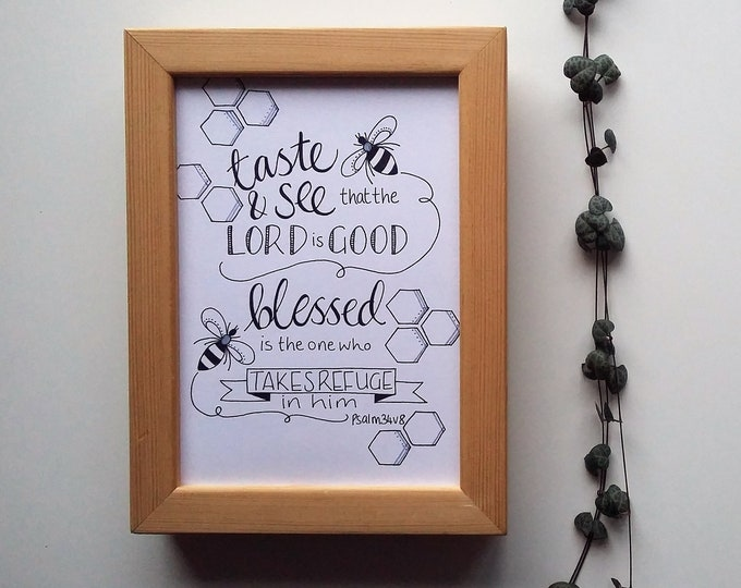 Featured listing image: Psalm 34:8 - A5 hand drawn Bible Verse - taste and see that the Lord is good
