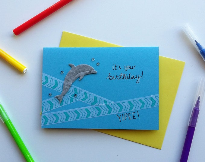 Featured listing image: Birthday Dolphin Card
