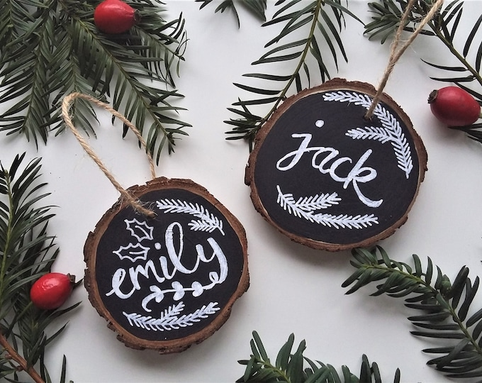 Featured listing image: Personalised Chalkboard Christmas Tree Decoration
