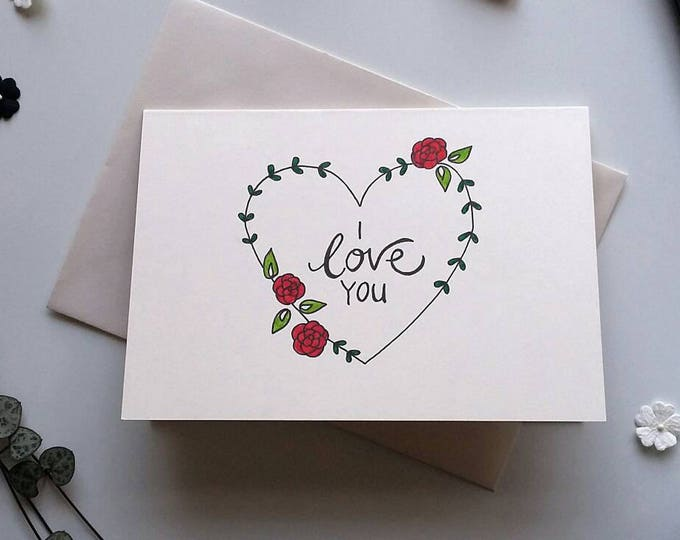 Featured listing image: Love you card - Hand drawn