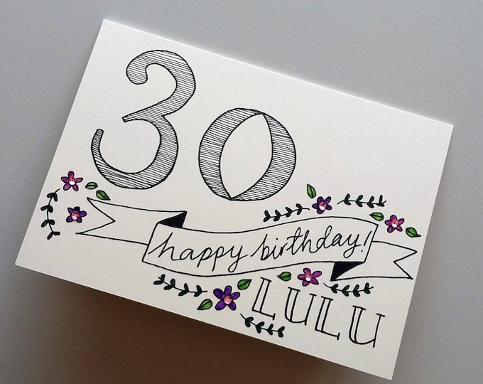 Featured listing image: Personalised *age* Birthday Card
