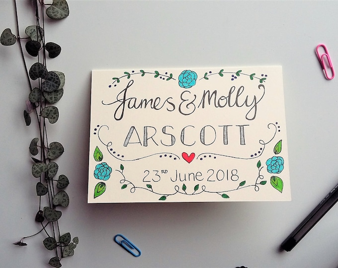 Featured listing image: Personalised Couple Names Card - Wedding or Anniversary card