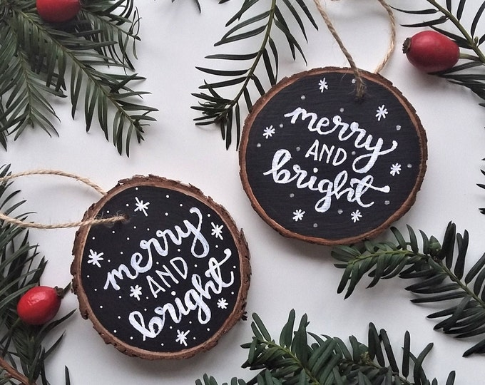 Featured listing image: Wooden Christmas Tree Decoration - Merry and Bright